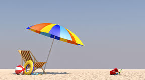 parapluie de chaise de l'illustration 3D sur la plage Images stock