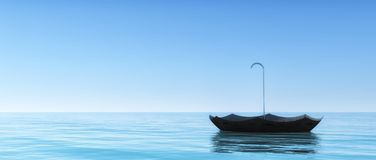 Parapluie de flottement dans l'océan illustration libre de droits