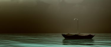 Parapluie de flottement dans l'océan foncé illustration de vecteur