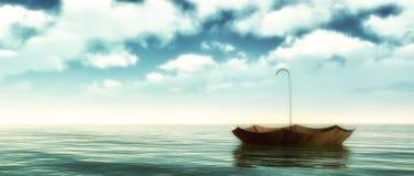 Parapluie de flottement dans l'océan nuageux illustration de vecteur