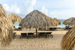 Parapluie de plage de paume, République Dominicaine  Photos libres de droits