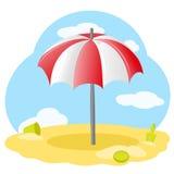 Parapluie de plage rayé Photographie stock