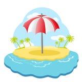Parapluie de plage sur l'île Photo libre de droits