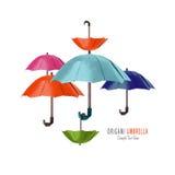 Parapluie de rouge d'origami illustration stock