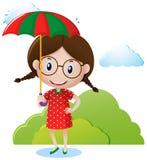 Parapluie de transport de fille en parc illustration stock