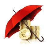 Parapluie et argent Euro de concept d'affaires Photo stock
