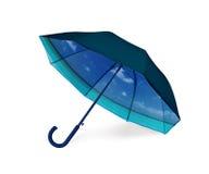 Parapluie noir avec la vue tropicale de plage à l'intérieur Photographie stock libre de droits