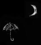 Parapluie noir de l'eau dans le clair de lune illustration de vecteur