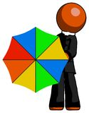 Parapluie orange de Man Holding Rainbow de clergé à la visionneuse illustration de vecteur