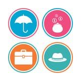 Parapluie, portefeuille et chapeau avec le cas Photo stock