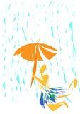 Parapluie sous la pluie Images libres de droits