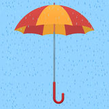 Parapluie sous la pluie illustration de vecteur