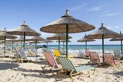 Parapluies à la plage Photographie stock