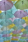 Parapluies accrochant en haut Image libre de droits
