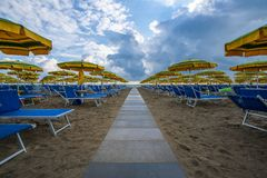 Parapluies alignés sur la plage Photos stock