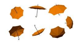 parapluies beaucoup automne jaune d'isolement à l'arrière-plan blanc Image libre de droits