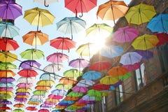 Parapluies 3 colorés Images libres de droits