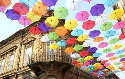 Parapluies 5 colorés Image libre de droits
