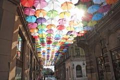 Parapluies 7 colorés Photos libres de droits