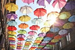 Parapluies 9 colorés Photos stock