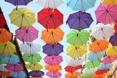 Parapluies 10 colorés Photo libre de droits