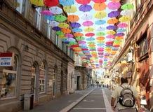 Parapluies 12 colorés Photos libres de droits