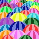 Parapluies colorés recueillis Images libres de droits