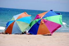 Parapluies de Neach sur le rivage des Caraïbes image libre de droits