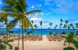 Parapluies de paume sur la plage sablonneuse de la République Dominicaine  image libre de droits