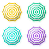 Parapluies de plage réglés, vue supérieure Photographie stock libre de droits