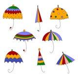 Parapluies. Ensemble d'éléments décoratifs Photo stock