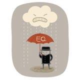 Paraply för affärsmanbruk EQ Royaltyfria Bilder
