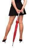 paraply för flickabenred Royaltyfria Foton