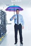 paraply för server för affärsmanhålllokal Royaltyfri Foto