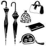 Paraply handväska, påsesymbolsuppsättning på vit Arkivfoton