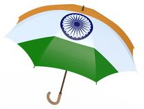 Paraply med flaggan av Indien på vit Arkivbild