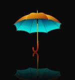 Paraply med reflexion på svart bakgrund vektor illustrationer