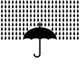 Paraply med regn också vektor för coreldrawillustration Arkivbild