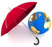 Paraply och jordklot Royaltyfri Bild