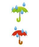 Paraply- och regnvektor Arkivfoton