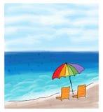 Paraply och stolar på havskusten och havet Arkivbilder