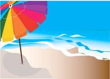 Paraply på havsstrand. Royaltyfri Bild