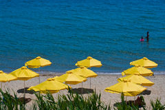 Paraply på strand. sikt i den soliga stranden - Bulgarien Royaltyfri Bild