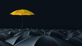 Paraply som står ut från folkmassamassbegrepp royaltyfri illustrationer