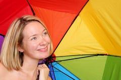 paraply under kvinna Royaltyfri Fotografi