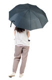 paraply under kvinnabarn Royaltyfri Foto