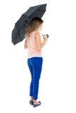 paraply under kvinnabarn Royaltyfri Fotografi