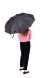 paraply under kvinnabarn Royaltyfria Bilder