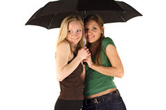 paraply under kvinnor Arkivfoto