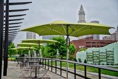 Paraplyer - i stadens centrum Boston Royaltyfri Foto